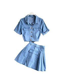 F-pump Korean Style Short Sleeve Turn-Down Collar Shirt, Mini Skirt Two Piece Set