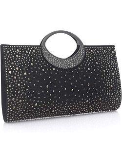 Dexmay Shiny Evening Bag with Crystal Handle for Wedding Party Elegant Crystal Rhinestone Clutch Purse