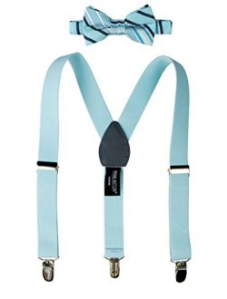Boys' Woven Bow Tie And Suspender Set
