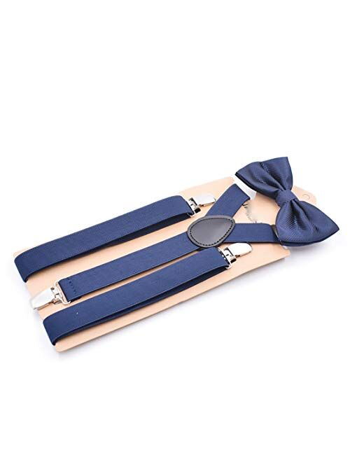 Geqian1982 Men's Boys' Suspenders with Bow Tie Set Adjustable Y Back 2PCS