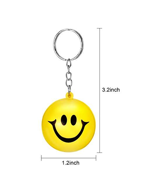 20 Pack Yellow Funny Smile Face Stress Balls Keychains for Party Favors, School Carnival Reward, Party Bag Gift Fillers