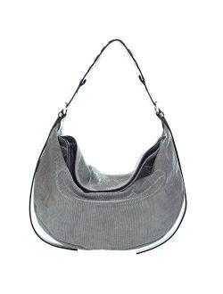 Gianni Chiarini Italian Made Coated Silver Canvas & Leather Hobo Bag