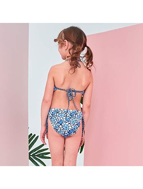 YIXING 2019 New Baby Girl's Swimsuit Kid's Bikini Swimwear Children Pretty Flounce Two-Pieces Swimsuit for Girl Beachwear Age 3-8Years (Color : Aqua, Size : XXL)