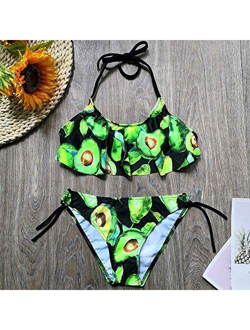 YIXING 5-14 Years Girl Swimsuit Kids Tropical Avocado Print Teenage Girl Bikini Set Halter Top Girls Bathing Suits Children's Swimwear (Color : Green, Size : 7 8)