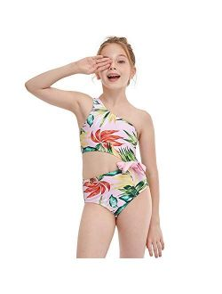 YIXING Girls One Pieces Swimwear Bow One Shoulder Swimsuit Lovely and Sweet Beachwear Swimming Angel in The Water Bathing Suit (Color : Red, Size : 116)