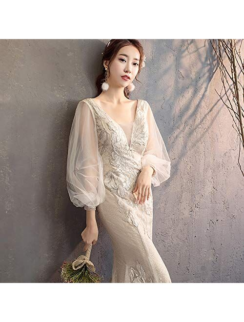 zjyfyfyf Women's V-Neck Wedding Dress Bridal Ball Gowns Skirt Long Tail Wedding Dress (Color : White, Size : X-Small)