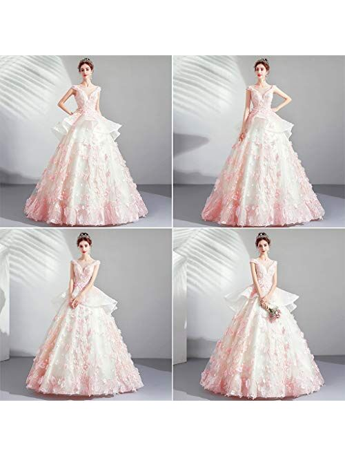 Women's Lace Wedding Dress Formal Party Bride Tulle Dress Bridal Cherry Blossoms Ball Gown Puffball Skirt full dress
