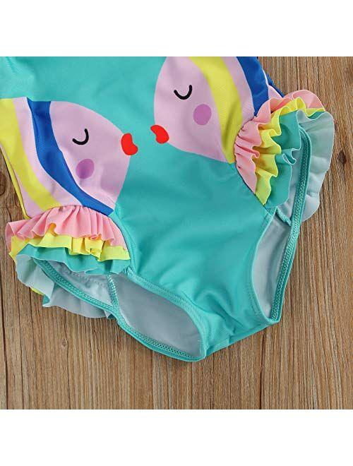 weichuang Kids Girls One-Piece Swimsuit Cute Cartoon Print Cut Out Knot Back Ruffle Bathing Suit Lovely Kid's Beach Swimwears (Size : M)
