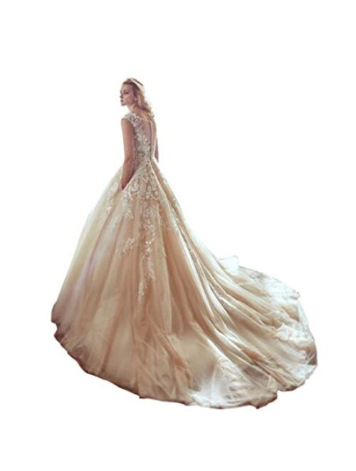 Kelaixiang Bridal Applique Lace Ball Gown Wedding Dress Sleeveless Prom Evening Dresses