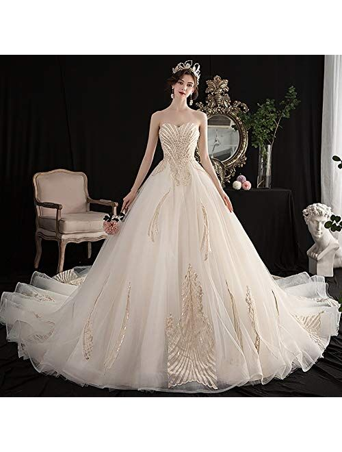 zjyfyfyf Women's Wedding Dress Formal Long Evening Party Backless Dress Prom Ball Gown Lace Bridal Dress (Color : White, Size : Small)