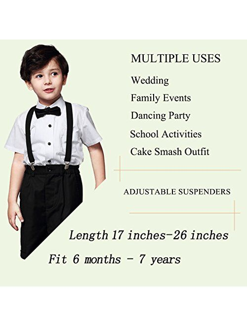 Kids Bow Tie and Suspenders Toddler Suspenders with Bow Ties Set Adjustable Elastic Y-Back Strong Clips 2 or 3 Packs