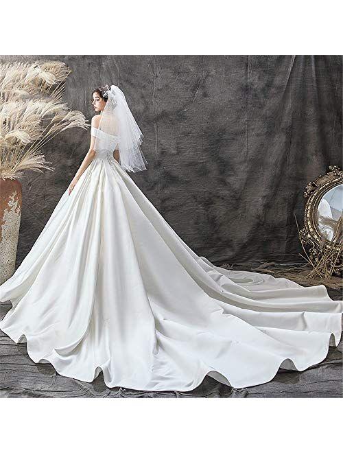 YADSHENG Wedding Dress Women's Wedding Dress for Bride Lace Applique Evening Floor Length Long Ball Gowns Dresses (Color : White, Size : XX-Large)