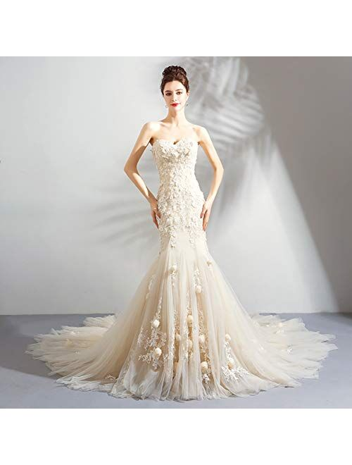 zjyfyfyf Women's Floral Embroidery Design Wedding Dress Mermaid Evening Dress Wedding Evening Prom Gown Dresses (Color : Beige, Size : Small)