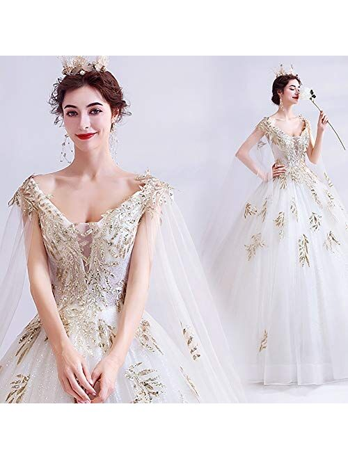 zjyfyfyf Women's Wedding Dress Classic Wedding Dress Women's Elegant Ball Dress Formal Party Bride Long Gowns Bridal Prom Gown (Color : White, Size : XX-Large)