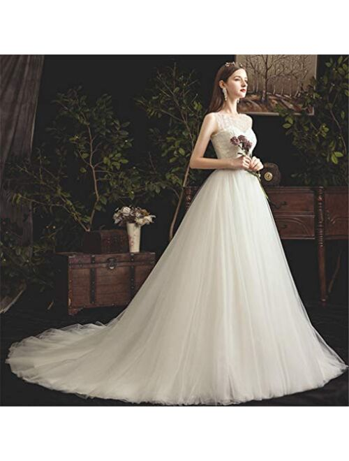 L-ELEGANT Wedding Dress, Lace Round Neck Sleeveless Stereoscopic Manual Embroidery Simple White Trailing Bride Dress