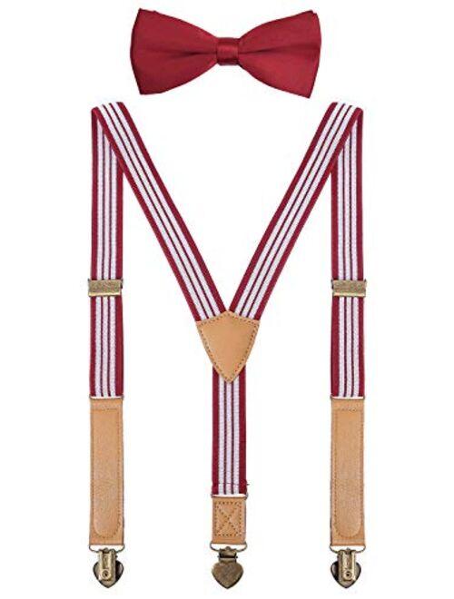 PZLE Boys Suspenders and Bow Tie Set Y-Back Adjustable
