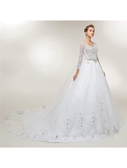Lazacos Women's Long Sleeves Crystal Sequins Appliques Ball Gown Wedding Dress
