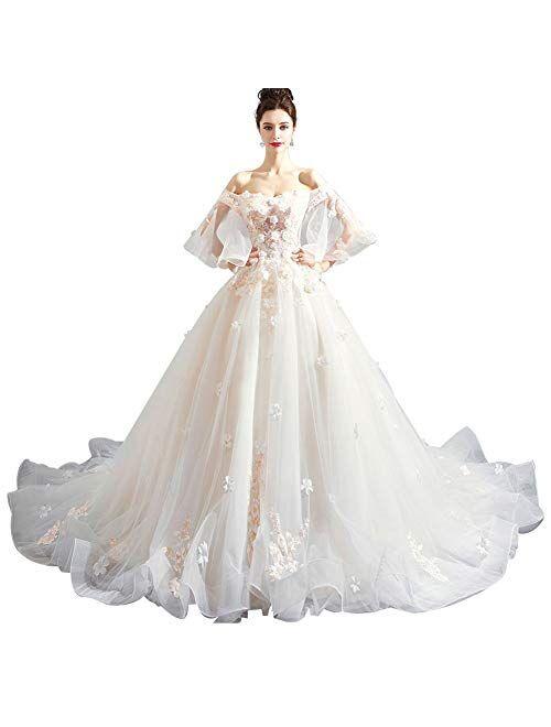 zjyfyfyf Women's Wedding Dress Classic Wedding Dress Women's Elegant Ball Dress Formal Party Bride Prom Gown (Color : White, Size : XX-Large)