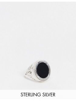 Chained & Able sterling silver sovereign ring with onyx stone and scroll detail