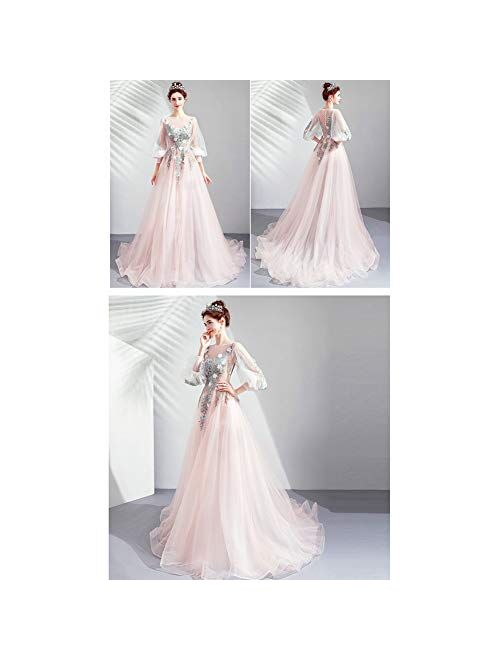 zjyfyfyf Women's Lace Wedding Dress Formal Party Bride Tulle Dress Bridal Cherry Blossoms Ball Gown Skirt (Color : Pink, Size : XX-Large)
