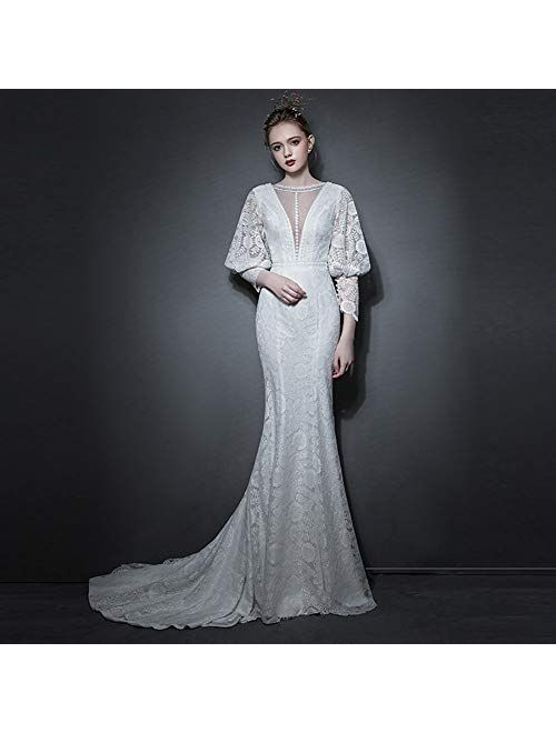zjyfyfyf Bridal Lace Wedding Dresses Women's Gown Ball Prom Backless Dress (Color : White, Size : Large)