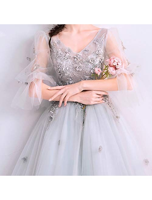 zjyfyfyf Women's Applique Beaded Bridal Gown Sexy Beach Wedding Dress Evening Prom Gown (Color : Gray, Size : 3X-Large)