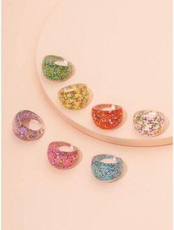 7pcs Girls Butterfly Print Ring