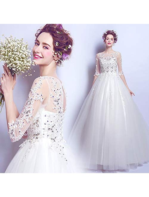 zjyfyfyf Women's Wedding Dress Backless Formal Long Evening Party Dress Prom Ball Gown Bridal Dress (Color : White, Size : Large)
