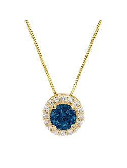 """1.35 ct Brilliant Round Cut Natural London Blue Topaz Pave Halo VVS1 D Solitaire Pendant Necklace With 16"""" Gold Chain box Birthstone Solid Real 14k Yellow Gold, Clara Puc"""