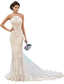 Fenghuavip Elegant Halter Lace Long Train Bridal Beach Wedding Dress