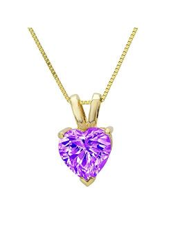 """0.45 ct Brilliant Heart Cut Natural Purple Amethyst Ideal VVS1 Solitaire Pendant Necklace With 16"""" Gold Chain box Solid Real 14k Yellow Gold"""