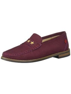 Unisex-child Leather Loafer With Gold Embroidered Star