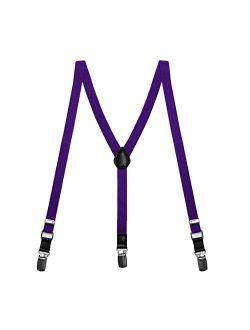 TieMart Boys' Amethyst Purple Skinny Suspenders