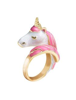 Unicorn Girls Adjustable Rings for Kids, 18K Gold Plated Hand Painted Toddler Jewelry, Cute Girl Ring for Children Pretend Party , with Gift Box