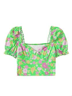 Women's Floral Puff Short Sleeve Summer Square Neck Crop Blouse Tops