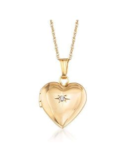 Ross-Simons Child's 14kt Yellow Gold Small Heart Locket Necklace With Diamond Accent. 15 inches