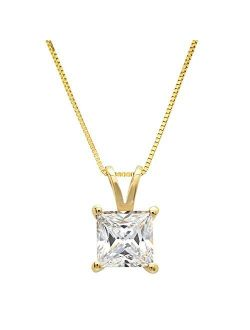 """1.05 ct Brilliant Princess Cut Stunning Genuine Created White Sapphire Ideal VVS1 D Solitaire Pendant Necklace With 16"""" Gold Chain box Solid 14k Yellow Gold, Clara Pucci"""