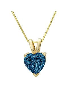 """2.0 ct Brilliant Heart Cut Stunning Genuine Natural London Blue Topaz Ideal VVS1 D Solitaire Pendant Necklace With 16"""" Gold Chain Box Birthstone Solid 14k Yellow Gold Cla"""