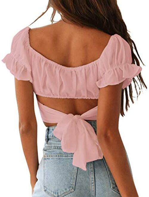 LYANER Women's Ruffle Short Sleeve Tie Up Back Crop Top Off Shoulder Bardot Blouse