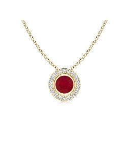 Round Natural Ruby Pendant Necklace with Diamond Halo in 14K Yellow Gold (4mm Ruby)