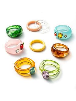 PANTIDE 9Pcs Retro Resin Acrylic Diamond Ring- Vintage Wood Plastic Resin Ring Colorful Index Finger Ring Jewelry Valentine's Day Gift, Fashion Unique Square Gem Ring Fig