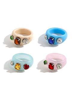 sloong 4pcs Y2K Style Chunky Retro Resin Acrylic Ring Plastic Rings Kids Ring Cute Colorful Candy Ring Finger Ring Jewelry Transparent Handmade Trendy Rings for Women Gir