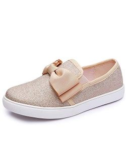 Aellons Girls Bow Sequins Slip On Wearing Sneaker Loafer Flats Casual Walking Shoes