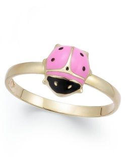 Children's Pink and Black Epoxy Ladybug Ring in 14k Gold