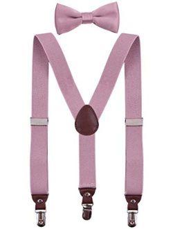 PZLE Men's Boys' Suspenders and Bow Tie Set Adjustable Y Back