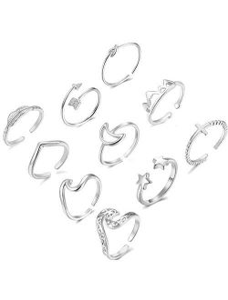 Dcfywl731 10PCS Rings for Teen Girls,Arrow Knot Wave Open Rings Kunckle Stackable Thumb Finger Rings Set for Teen Girls Hypoallergenic Sandals Jewelry