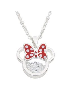 """Birthstone Women And Girls Jewelry Minnie Mouse Silver Plated Shaker Pendant Necklace, 18+2"""" Extender"""