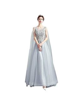zjyfyfyf Women's Wedding Dress Lace Ball Gown Prom Elegant Chiffon Dress Formal Party Tulle Skirt (Color : Gray, Size : Large)