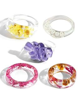 5 PCS Resin Ring with Pressed Flower, Y2K Fashion Acrylic Ring Kits for Women Girls Y2K Fashion Accessories Colorful Rings Vintage Jewelry Party Gift