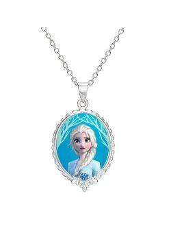 """Frozen 2 Elsa Fine Silver Plated Pendant Necklace, 16 + 2"""" Extender"""